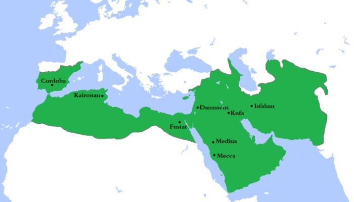 Mapa del Califato Omeya de Damasco en su máxima exppansión. Siglo XVIII